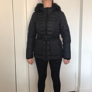 The North Face Black Puffer belted jacket